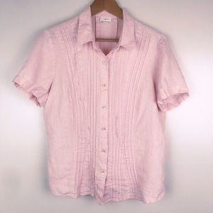 J.JILL Linen Pink Button Front Blouse Short Sleeve